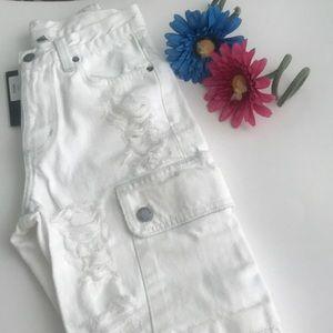 LF Jeans - LF Carmar White Distressed Cargo Jeans BNWT Sz 23
